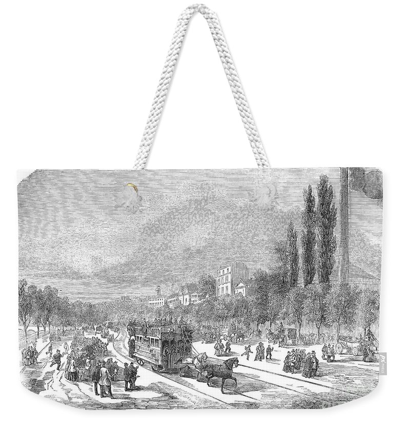 1854 Weekender Tote Bag featuring the photograph Street Railway, 1853 by Granger
