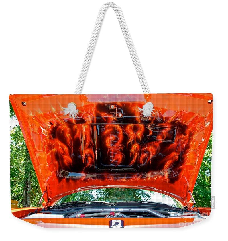 Street Rod Hood Weekender Tote Bag featuring the photograph Street Rod Hood 3 by Mark Dodd