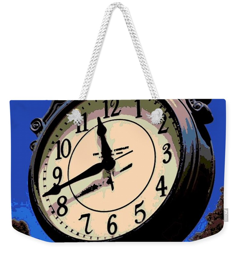 Street Clock Weekender Tote Bag featuring the photograph Street Time by George Pedro