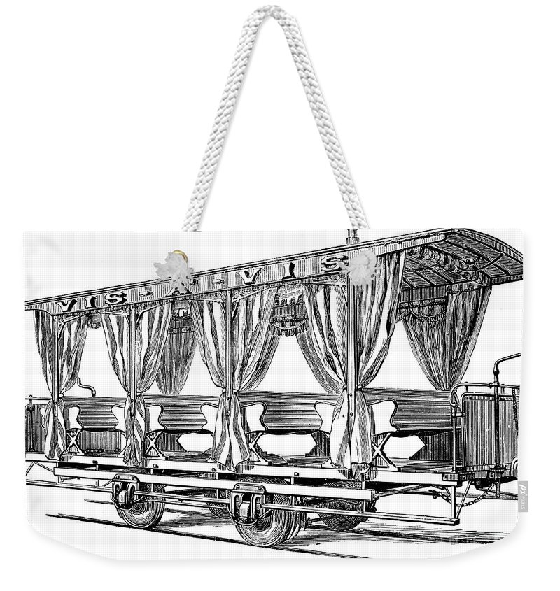 1880 Weekender Tote Bag featuring the photograph Streetcar, C1880 by Granger