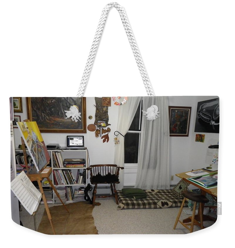 Studio Weekender Tote Bag featuring the photograph Studio - Art Work Space by Anna Ruzsan