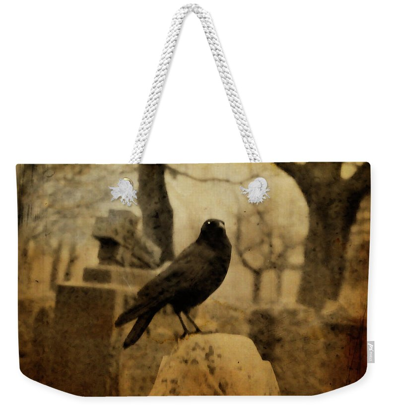 Raven Weekender Tote Bag featuring the photograph Study Of The Surly Raven by Gothicrow Images