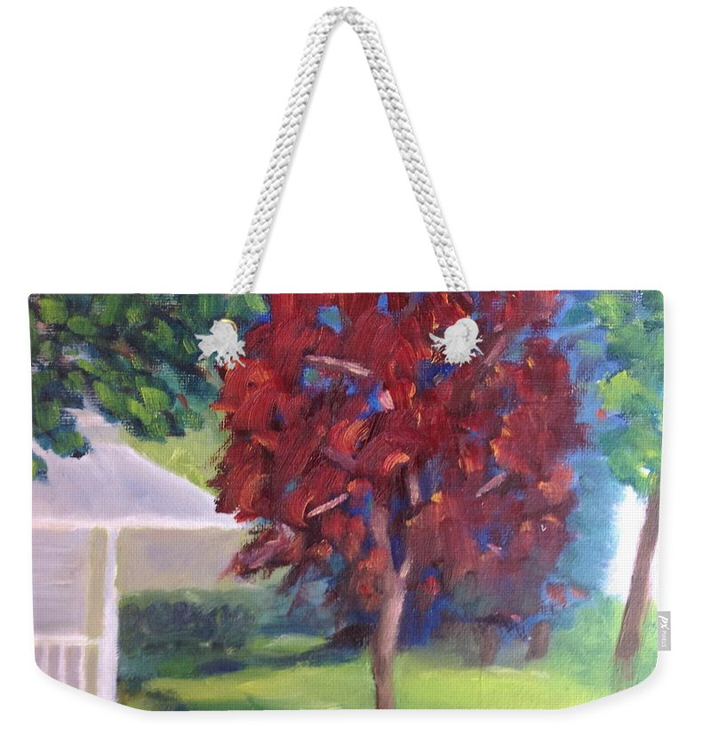 Landscape Weekender Tote Bag featuring the painting Suburban Landscape I by Patricia Cleasby