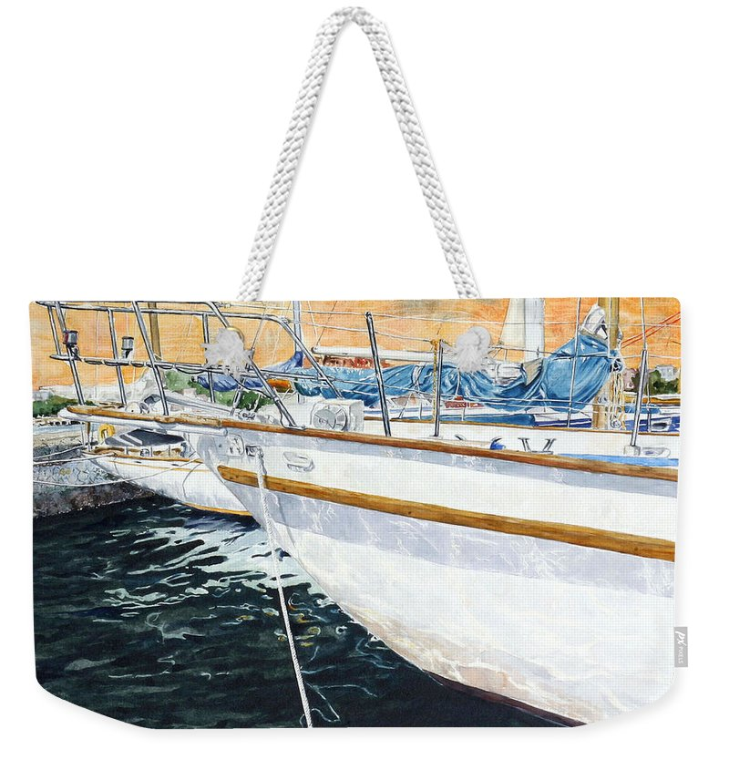 Schip. Boats Weekender Tote Bag featuring the painting Su'entu E Nora Riflessi by Giovanni Marco Sassu