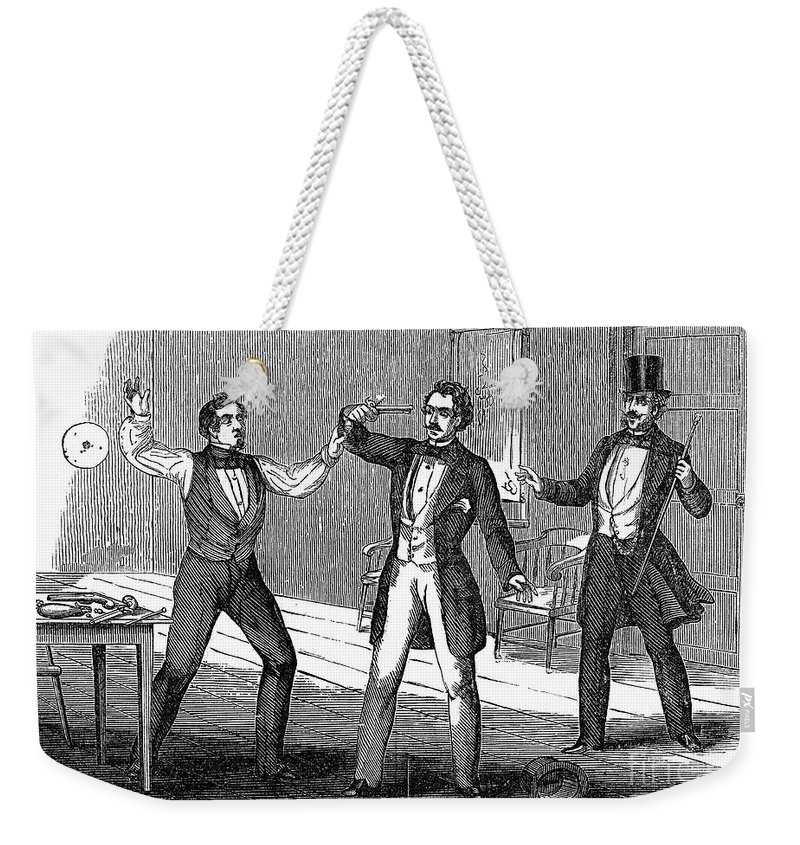 1859 Weekender Tote Bag featuring the photograph Suicide Attempt, 1859 by Granger
