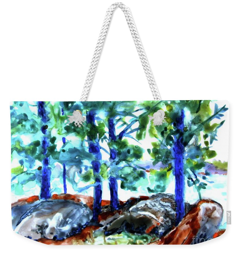Landscape Weekender Tote Bag featuring the painting Summer By The Lake by Jan Bennicoff