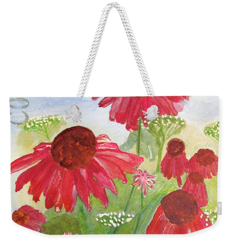 Summer Weekender Tote Bag featuring the painting Summer Coneflowers by Sandy McIntire