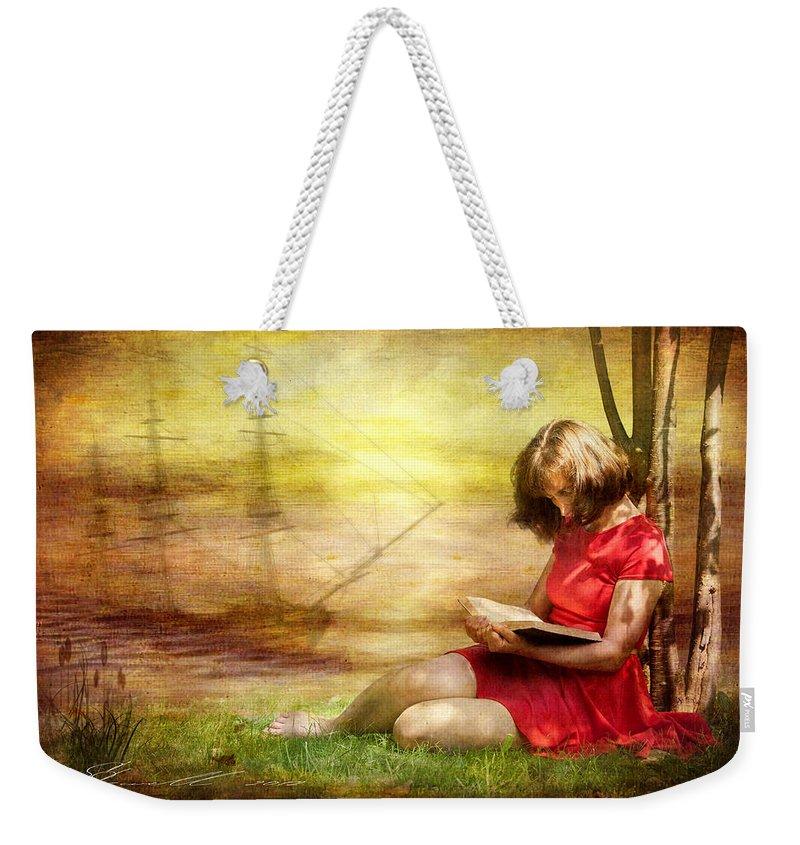 Adult Weekender Tote Bag featuring the digital art Summer Reading by Svetlana Sewell