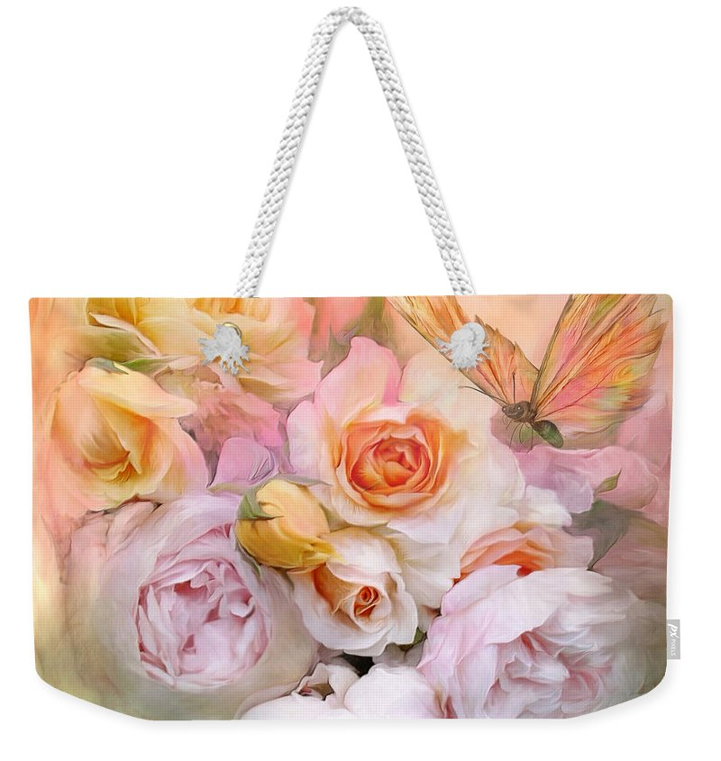 Roses Weekender Tote Bag featuring the mixed media Summer Roses by Carol Cavalaris