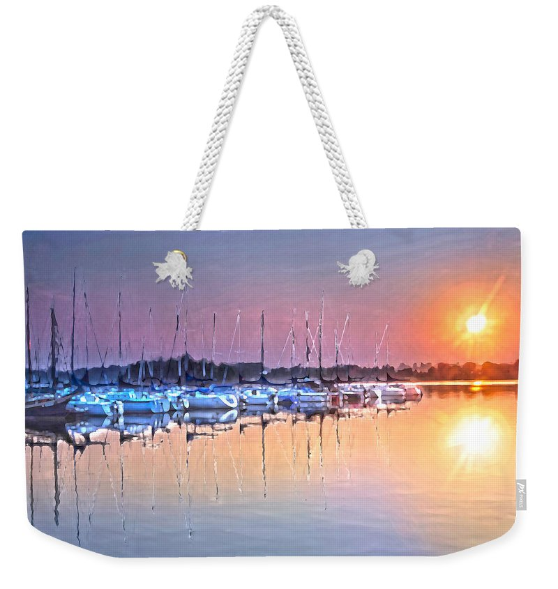 Sailboats Reflections In Golden Water Weekender Tote Bag featuring the photograph Summer Sails Reflections by Randall Branham