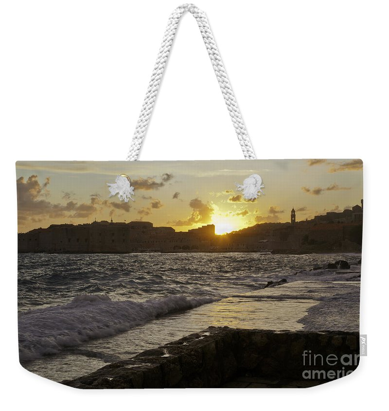 Sun Weekender Tote Bag featuring the photograph Sun Going Down Over Dubrovnik by Madeline Ellis