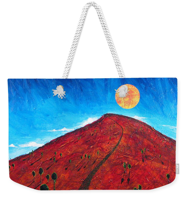 Landscape Weekender Tote Bag featuring the painting Sun Over Red Hill by Rollin Kocsis