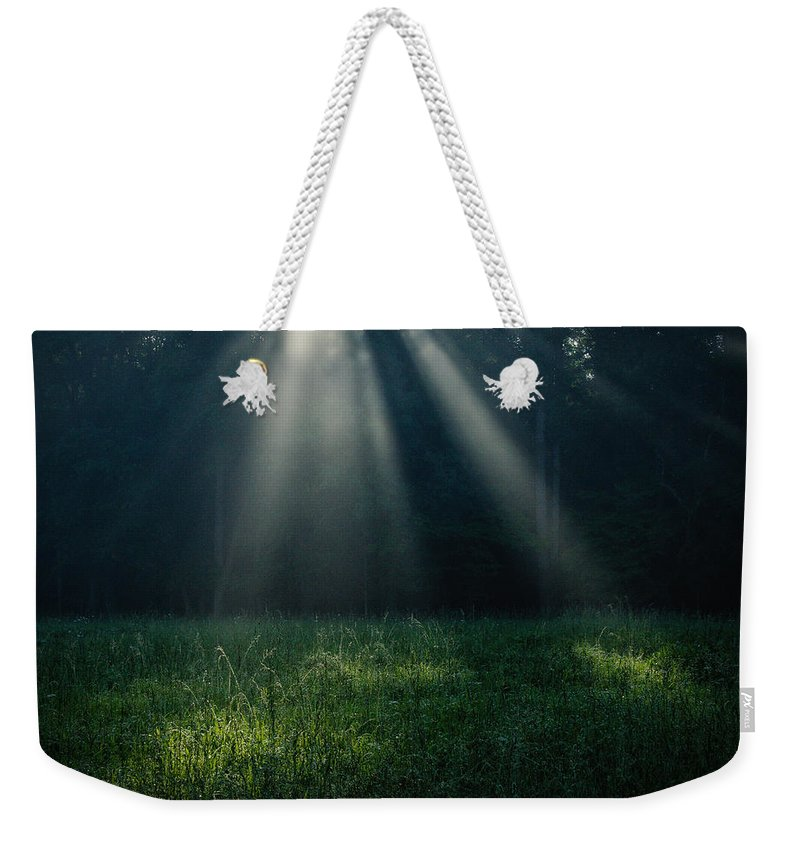 Great Smoky Mountains National Park Weekender Tote Bag featuring the photograph Sunbeams by Charlie Choc