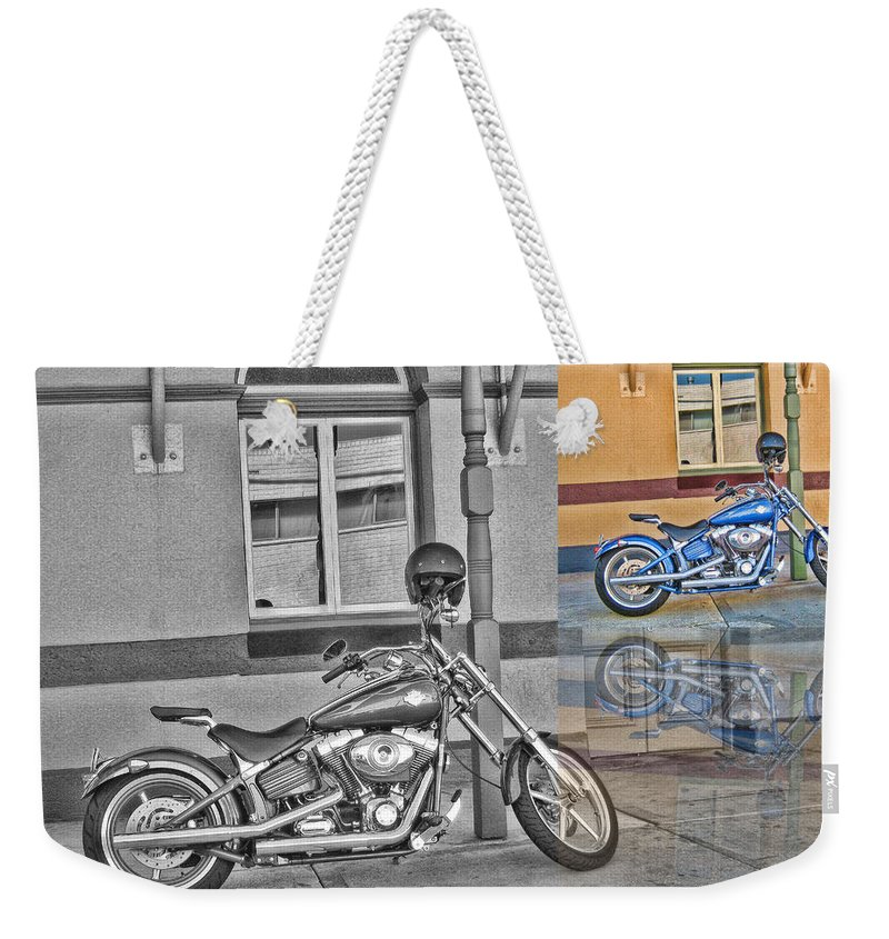 Harley Davidson. Motorcycle Weekender Tote Bag featuring the photograph Sunday At The Pub by Douglas Barnard
