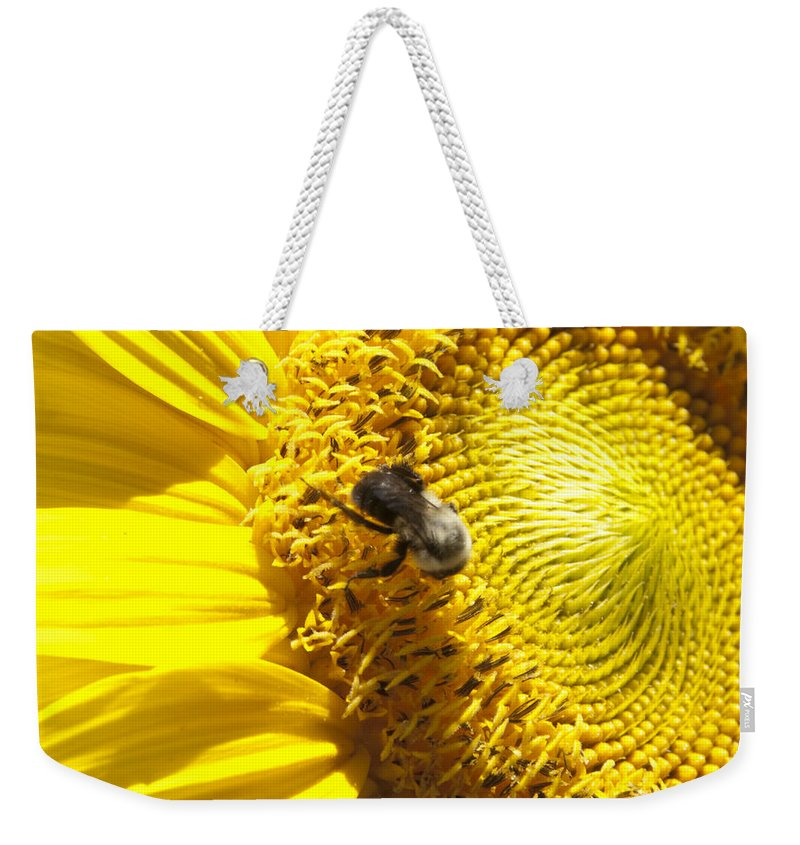 Natanson Weekender Tote Bag featuring the photograph Sunflower With Bee by Steven Natanson