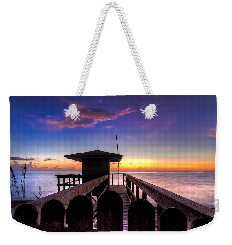 A1a Weekender Tote Bag featuring the photograph Sunrise Angel by Debra and Dave Vanderlaan
