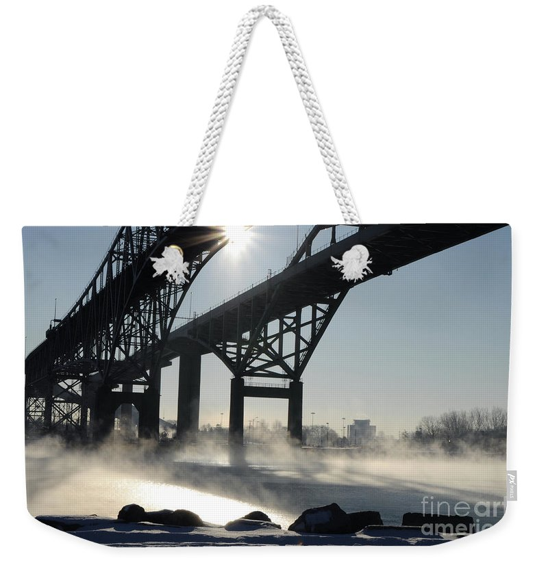 Fog Weekender Tote Bag featuring the photograph Sunrise Blue Water Bridges Fog by Ronald Grogan
