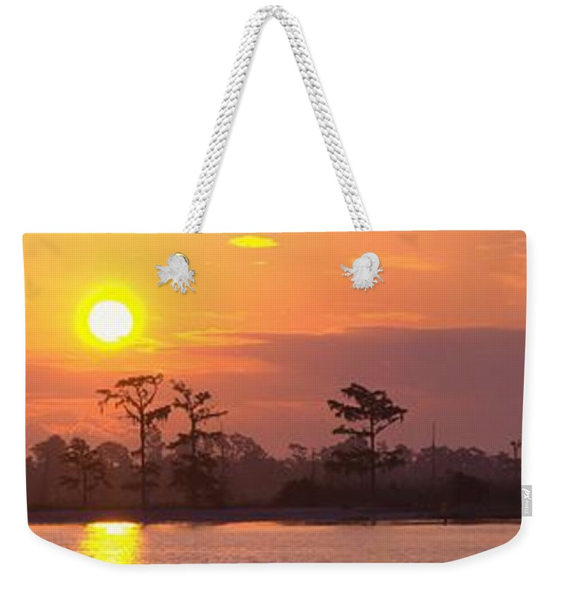 River Weekender Tote Bag featuring the photograph Sunrise Over The River by Anthony Walker Sr