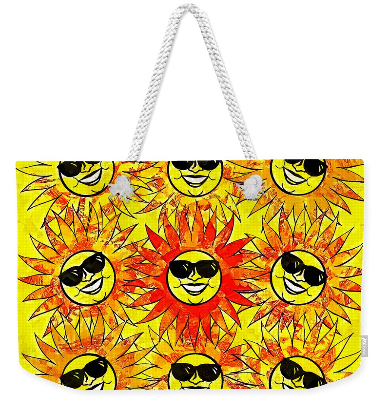 Sun Weekender Tote Bag featuring the digital art Suns Party by Vicki Podesta
