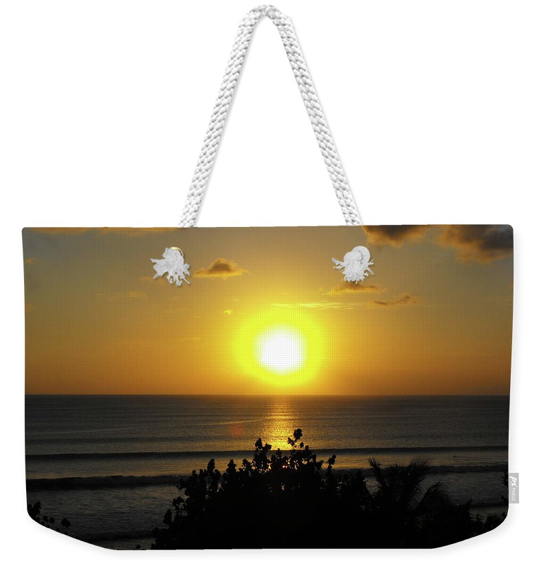 Sunset Weekender Tote Bag featuring the photograph Sunset At Kuta Beach by Marlene Challis