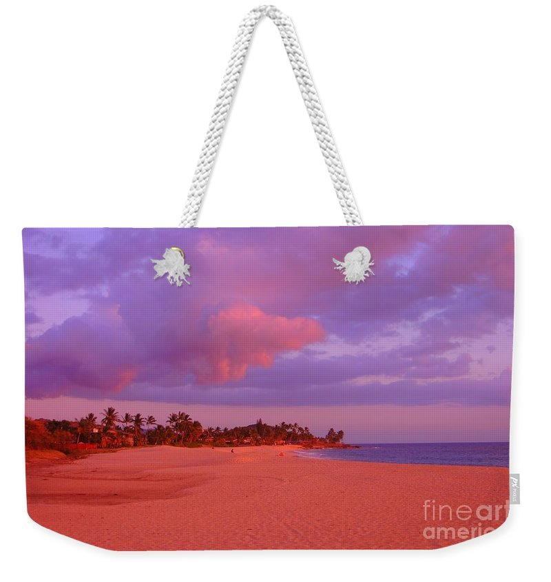 Beach Sunset Weekender Tote Bag featuring the photograph Makaha by Mark Gilman