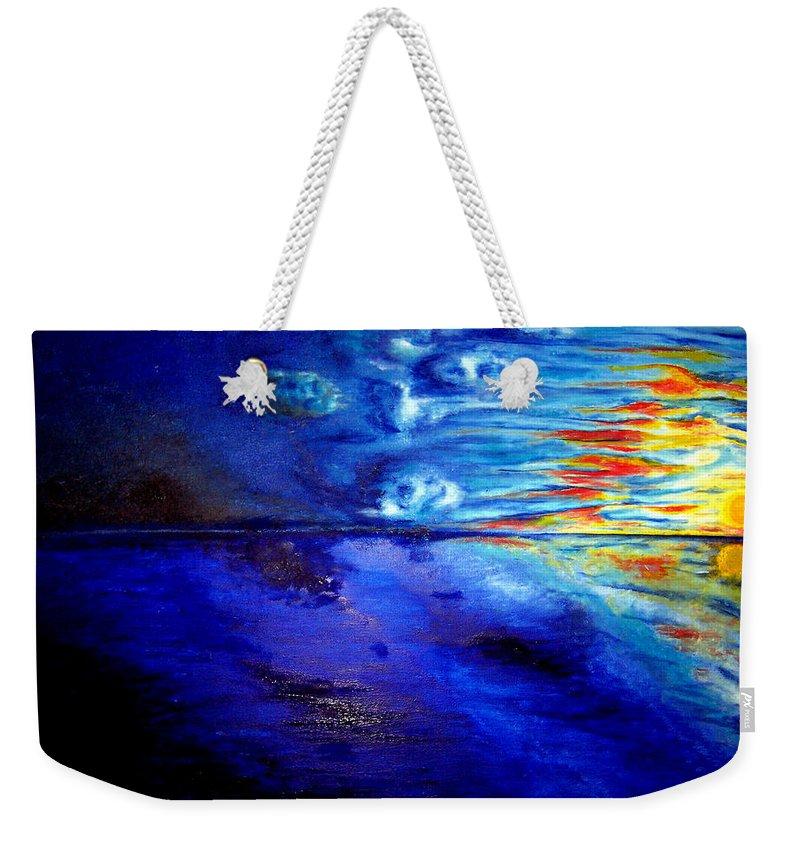 Sunset At Sea By Ted Jec. Weekender Tote Bag featuring the painting Sunset At Sea By Ted Jec. by Ted Jeczalik