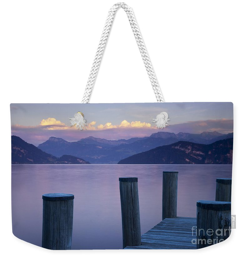 Lake Weekender Tote Bag featuring the photograph Sunset Dock by Brian Jannsen