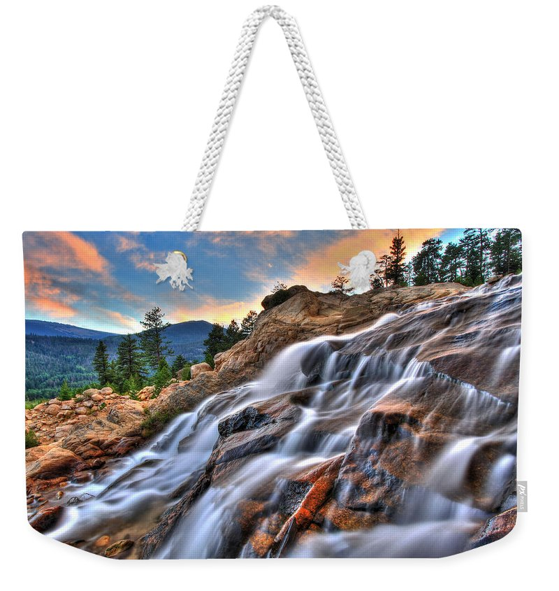 Park Weekender Tote Bag featuring the photograph Sunset Falls Landing by Scott Mahon