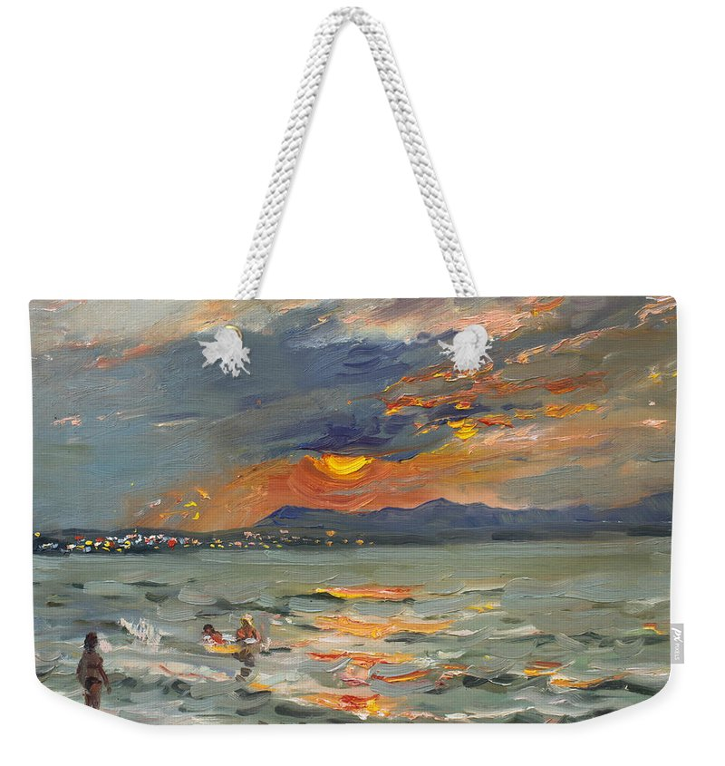 Seascape Weekender Tote Bag featuring the painting Sunset In Aegean Sea by Ylli Haruni