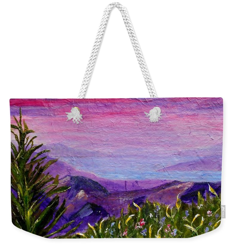 Collage Weekender Tote Bag featuring the painting Sunset Lake by Jamie Frier
