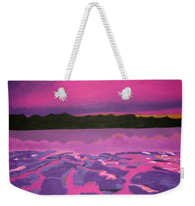 Landscape Weekender Tote Bag featuring the painting Sunset by Leanne Karlstrom
