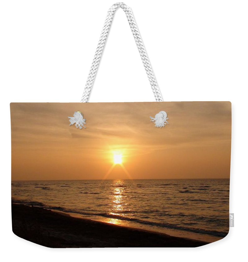 Sunset Weekender Tote Bag featuring the photograph Sunset On The Gulf by Christy Leigh