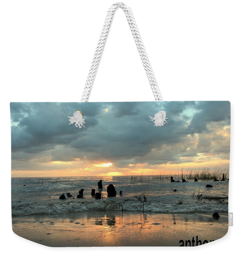 Sunset Weekender Tote Bag featuring the photograph Sunset Over Lake Pontchartrain by Anthony Walker Sr