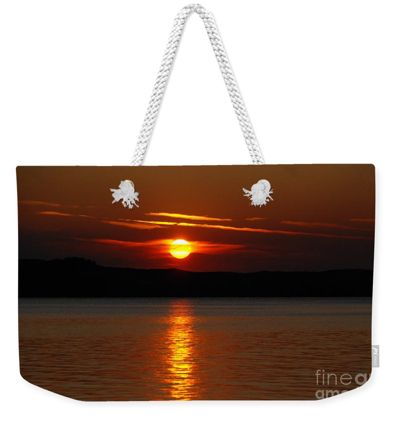 Silver Lake Sand Dunes Weekender Tote Bag featuring the photograph Sunset Over Silver Lake Sand Dunes by Grace Grogan