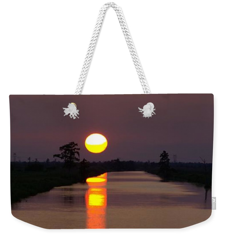Sunset Panorama Weekender Tote Bag featuring the photograph Sunset Over The Lagoon by Anthony Walker Sr
