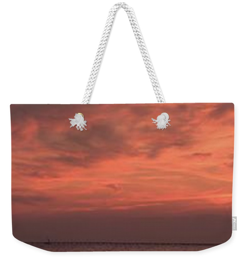 Sunset Weekender Tote Bag featuring the photograph Sunset Over The Lake by Anthony Walker Sr