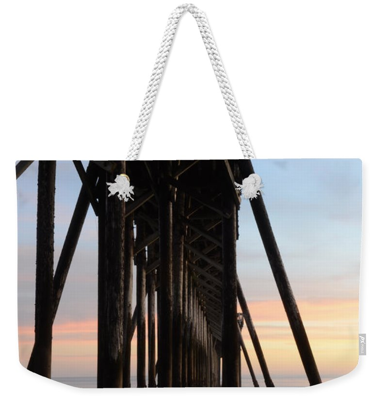 San Simeon Weekender Tote Bag featuring the photograph Sunset Pier California 3 by Bob Christopher