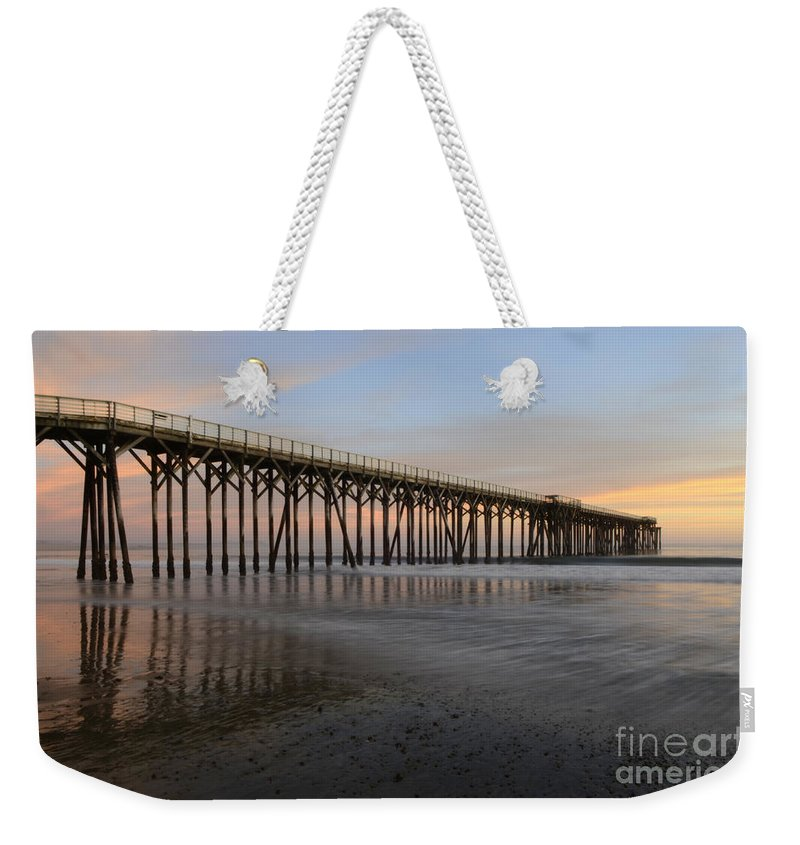 San Simeon Weekender Tote Bag featuring the photograph Sunset Pier California 5 by Bob Christopher