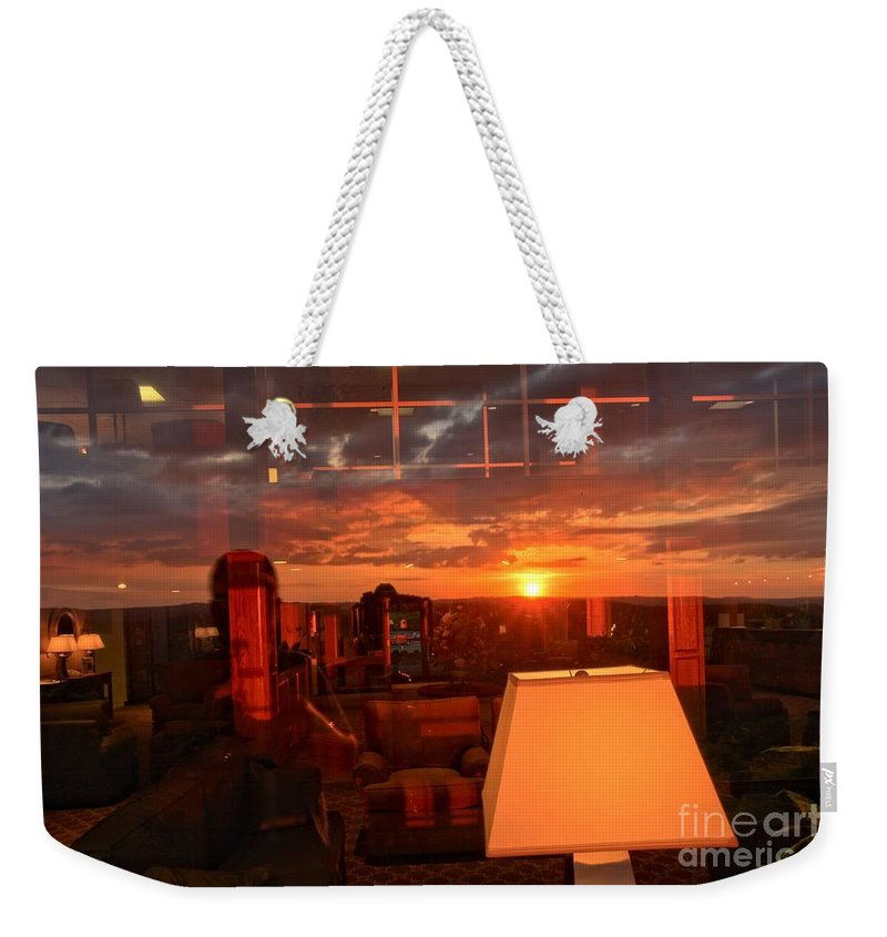 Mckeever Lodge Sunset Weekender Tote Bag featuring the photograph Sunset Reflections by Adam Jewell