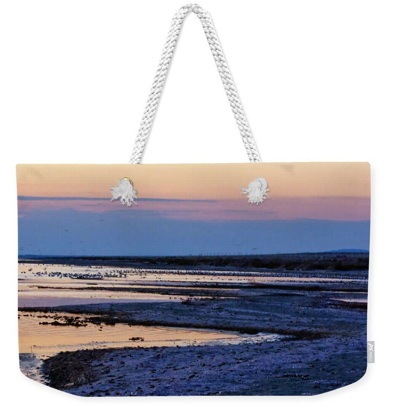Desert Landscape Weekender Tote Bag featuring the photograph Sunset Salton Sea North by Linda Dunn