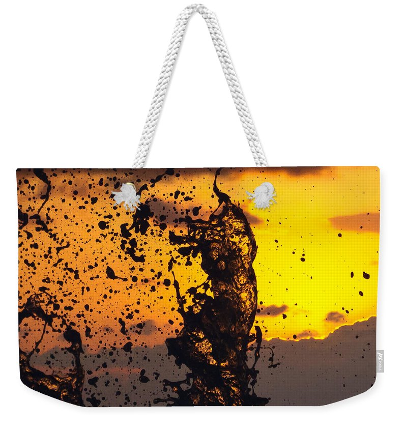 Sun Weekender Tote Bag featuring the photograph Sunset Splash 3 by Bill Lindsay
