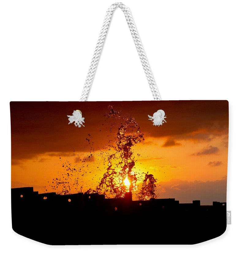 Sun Weekender Tote Bag featuring the photograph Sunset Splash 5 by Bill Lindsay