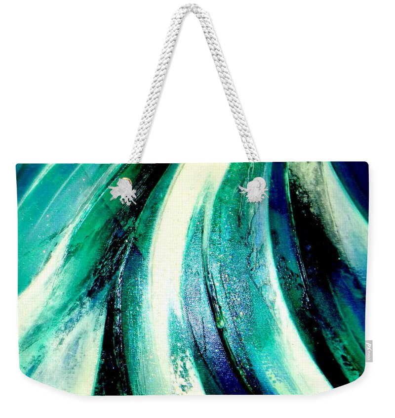 Waterfall.light.mountain Weekender Tote Bag featuring the painting Sunshine In Waterfall by Kumiko Mayer