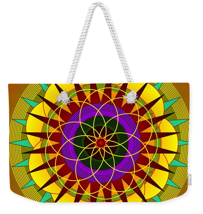 Mandalas Weekender Tote Bag featuring the digital art sunshine passion Flower by Mario Carini