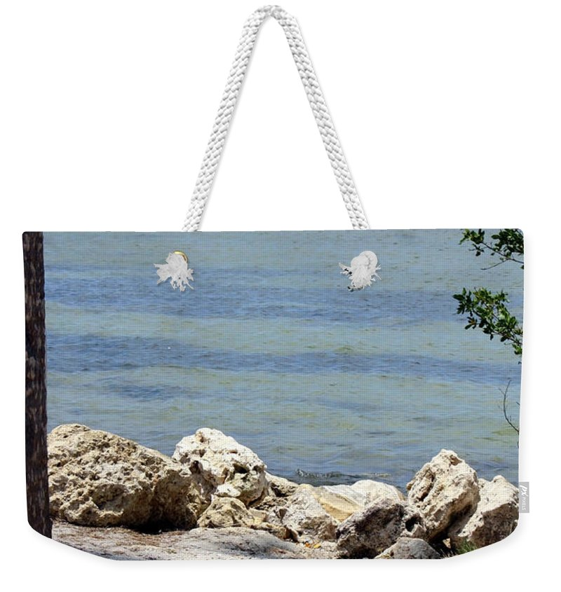 Sunshine Skyway Bridge Weekender Tote Bag featuring the photograph Sunshine Skyway From The Causeway by Carol Groenen