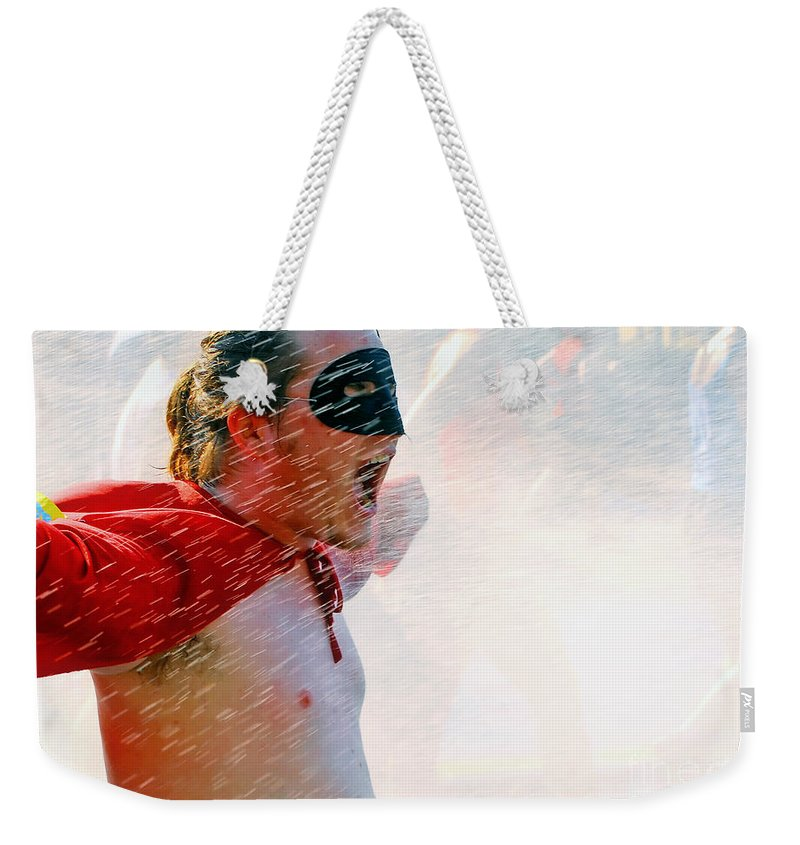 Road Race Weekender Tote Bag featuring the photograph Superboy Of Peachtree by Kathleen K Parker