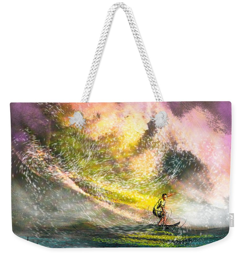 Sports Weekender Tote Bag featuring the painting Surfscape 02 by Miki De Goodaboom