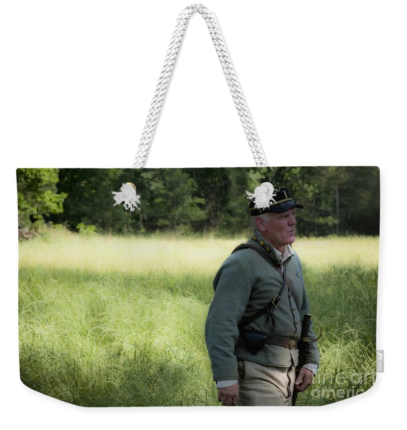 Reenactment Weekender Tote Bag featuring the mixed media Sword At My Side by Kim Henderson
