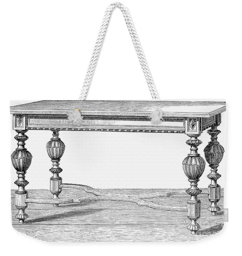 19th Century Weekender Tote Bag featuring the photograph Table, 19th Century by Granger