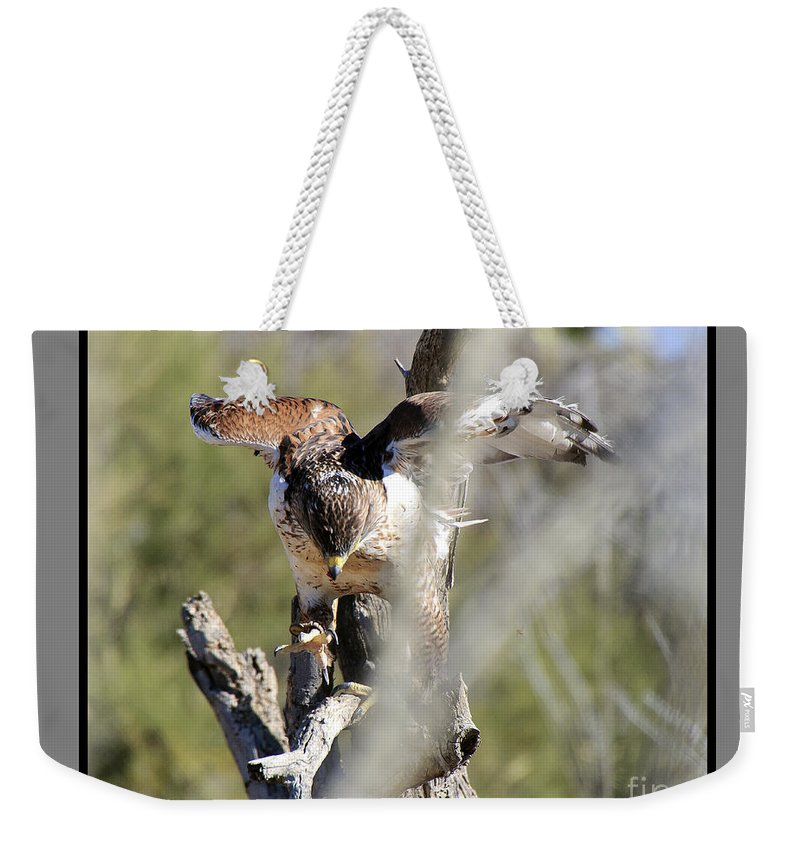 Bird Weekender Tote Bag featuring the photograph Take Flight by Larry White